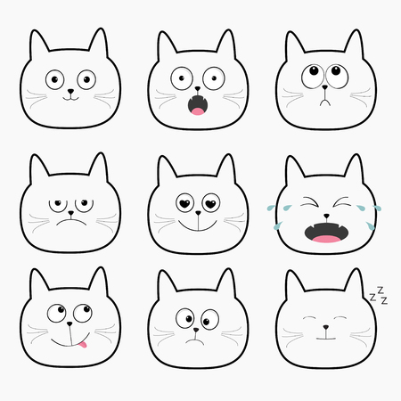 Cute black cat head set. Cartoon characters Different emotions faces collection. Expression face icons. Crying, happy, snoring, angry kitten. Cat feelings.  White background  Flat Vector illustration