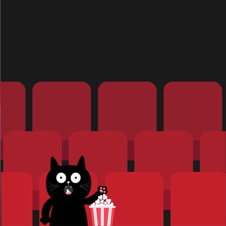 Cat in movie theater eating popcorn.  Cute cartoon character. Film show Cinema background. Viewer kitten watching movie. Red seats hall. Dark background. Flat design. Vector illustration