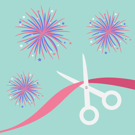 beginnings: Scissors cut the ribbon. Grand opening celebration. Business beginnings event. Launch startup. Blue background with fireworks. Flat design material style. Vector illustration.