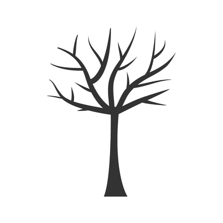 Tree trunk silhouette. Tree branch. Plant clip art. Isolated. White background. Flat design. Vector illustration