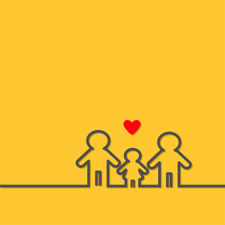 black sex: Two fathers and baby girl daughter. Gay marriage Pride symbol Contour line man sign LGBT icon  Male gender symbol. Happy family concept.  Red heart. Yellow background. Flat design Vector illustration Illustration