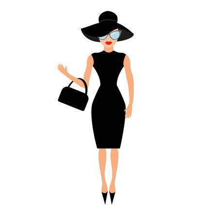 Mujer en negro elegante sombrero, gafas de sol bolsa y agitar. chica, rico y hermoso. Modelo de moda belleza cara labios rojos. colección de la gente personaje lindo plana fondo blanco Vector
