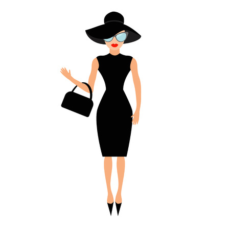 Vrouw in zwarte elegante hoed, tas en zonnebril zwaaien. Rijk en mooi celebrity meisje. Beauty fashion model gezicht rode lippen. Mensen collectie Cute stripfiguur Flat White achtergrond Vector