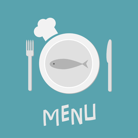 meterial: Plate with fish, fork, knife and chefs hat.  Restaurant food dish. Menu card. Flat material design style. Blue background.  Vector illustration.