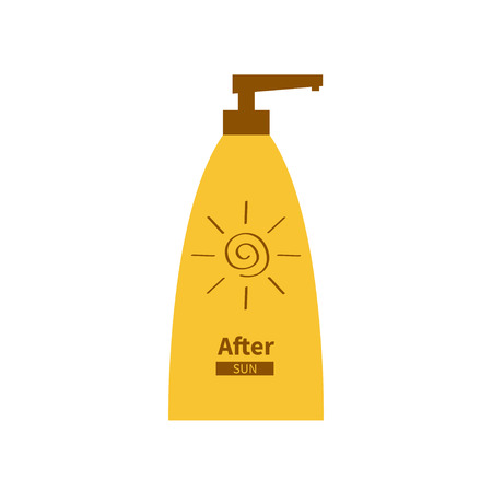 suntan cream: Tube of sunscreen suntan cream. After sun lotion. Bottle dispenser. Solar defence. Spiral sun sign symbol icon. SPF sun protection factor. UVA UVB sunscreen. Isolated. White background. Flat. Vector