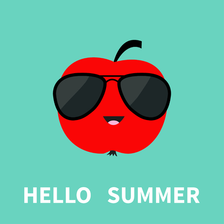red apple: Big red apple fruit wearing sunglasses. Cute cartoon smiling character. Hello summer Greeting Card. Flat design. Blue background. Vector illustration