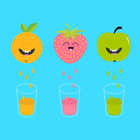 juicing: Fresh juice and glasses. Apple, strawberry, orange fruit with faces. Smiling cute cartoon character set. Natural product. Juicing drops. Flat design. Blue background. Isolated. Vector illustration