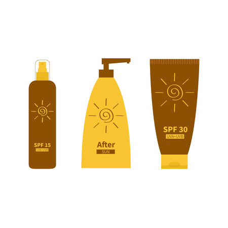 factor: Tube of sunscreen suntan oil cream. After sun lotion. Bottle set. Solar defence. Spiral sun sign symbol icon. SPF 15 30 sun protection factor. UVA UVB sunscreen. Isolated White background. Flat Vector Illustration