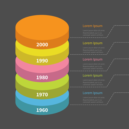 segment: Timeline vertical round colorful segment stack. Infographic with dash line and text. Template. Flat design. Black background. Vector illustration