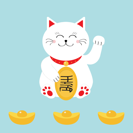 lucky cat: Lucky cat holding golden coin. Japanese Maneki Neco cat waving hand paw icon. Chinese gold Ingot. Feng shui Success wealth symbol mascot. Cute character. Greeting card. Flat. Blue background. Vector