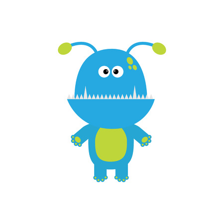 Funny monster with fang tooth and horns. Cute cartoon character. Blue color. Baby collection. Isolated. Happy Halloween card. Flat design. illustration. Ilustração