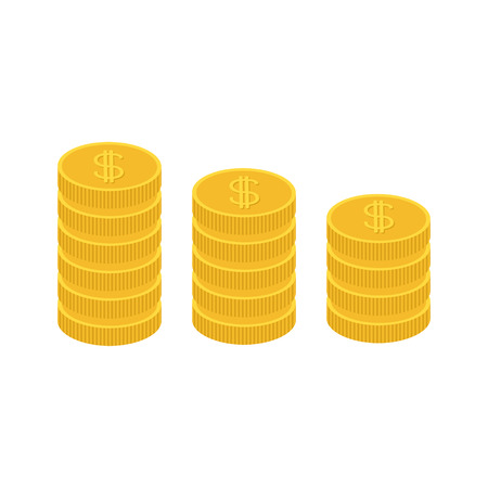 one us dollar coin: Gold coin stacks icon in shape of diagram. Dollar sign symbol. Cash money. Growing business concept. Going down graph. Income and profits. Flat design. White background. Isolated. illustration