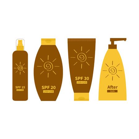 suntan cream: Tube of sunscreen suntan oil cream. After sun lotion. Bottle set. Solar defence. Spiral sun sign symbol icon. SPF 15 20 30 sun protection factor. UVA UVB sunscreen. White background.