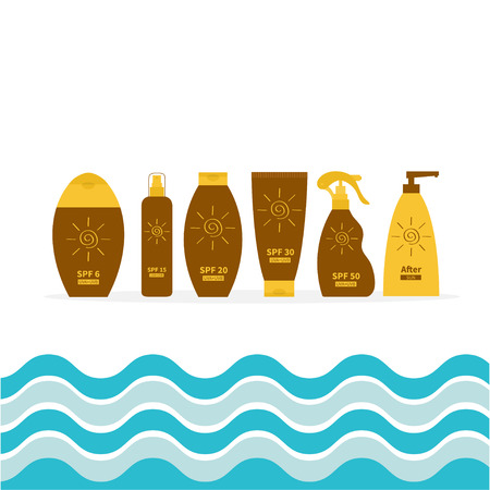 suntan lotion: Tube of sunscreen suntan oil cream. After sun lotion. Bottle set. Solar defence. Spiral sun sign symbol icon. SPF different sun protection factor. UVA UVB sunscreen. Sea wave frame.