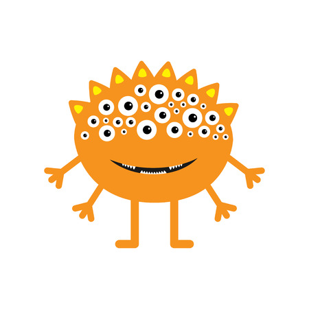 fang: Funny monster with fang tooth and horns. Cute cartoon character. Orange color. Baby collection. Isolated. Happy Halloween card. Flat design. White bckground. Vector illustration.