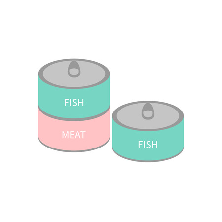 blue fish: Pet cat dog food tin can with ring. Wet cat eating set. Fish and meat can. Flat design. White background. Isolated. Blue and pink color. Vector illustration Illustration