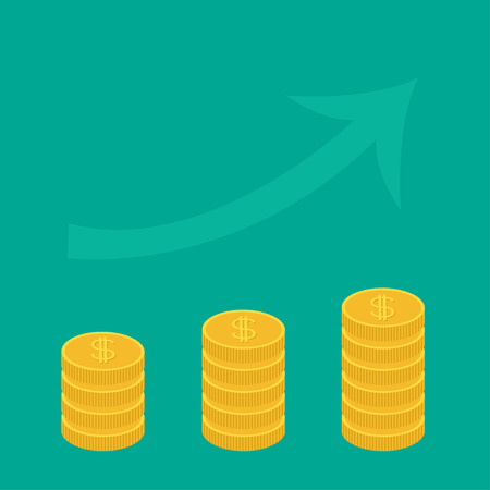 upward graph: Gold coin stacks icon in shape of diagram. Upward rising arrow. Dollar sign symbol. Cash money. Going up graph. Income and profits. Growing business concept. Flat design. Green background. Vector Illustration