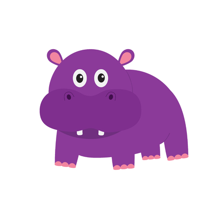 behemoth: Hippopotamus. Cute cartoon charachter hippo with tooth. Violet behemoth river-horse icon. Baby animal collection. Education card for kids. Flat design. White background. Isolated. Vector illustration
