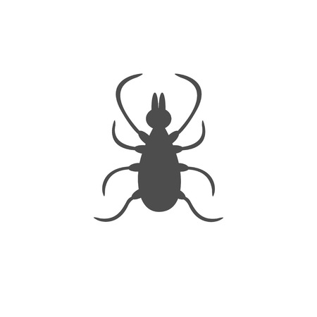 parasite: Tick insect silhouette. Mite deer ticks icon. Dangerous black parasite. White background. Isolated. Flat design. Vector illustration