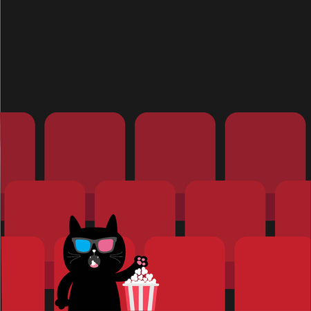 watching 3d: Cat in 3D glasses sitting in movie theater eating popcorn.  Cute cartoon character. Film show Cinema background. Viewer watching movie. Red seats hall. Dark background. Flat design Vector illustration
