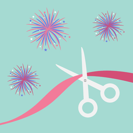 beginnings: Scissors cut the ribbon. Grand opening celebration. Business beginnings event. Launch startup. Blue background with fireworks. Flat design style. Vector illustration.