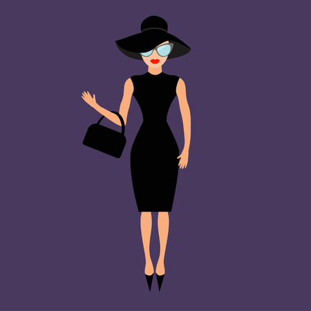 rich people: Woman in black elegant hat, bag and sunglasses waving. Rich and beautiful celebrity girl. Beauty fashion model face red lips. People collection Cute cartoon character Flat Violet background Vector