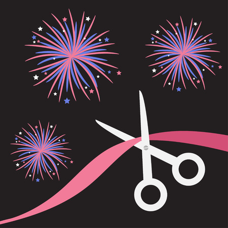 inaugural: Scissors cut the ribbon. Grand opening celebration. Business beginnings event. Launch startup. Black background with fireworks. Flat design style. Vector illustration.