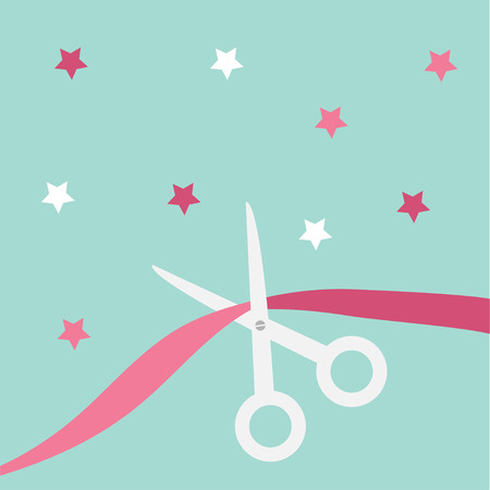 beginnings: Scissors cut the ribbon. Grand opening celebration. Business beginnings event. Launch startup concept. Blue background with stars. Flat material design style. Vector illustration. Illustration