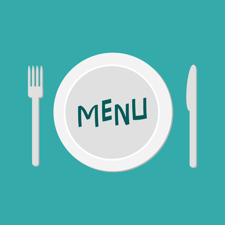 meterial: Plate with fork, knife and chefs hat.  Restaurant food dish. Menu card. Flat material design style. Green background. Vector illustration.
