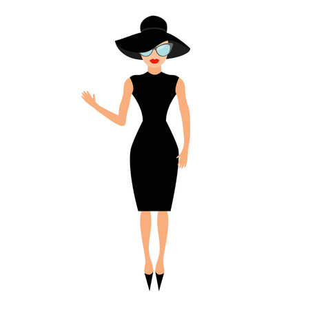 rich people: Woman in black elegant hat and sunglasses waving. Rich and beautiful celebrity girl. Beauty fashion model face red lips. People collection Cute cartoon character Flat White background Isolated Vector Illustration