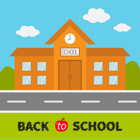 ring road: School building with clock and windows. City construction. Road, sky, cloud. Education clipart collection. Back to school. Flat design. Cartoon background. Vector illustration