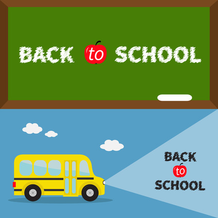 headlights: Back to school banner set. Yellow school bus. Light from headlights. Green board with chalk on the wall. Cartoon clipart. Transportation. Education collection. Flat design Vector illustration