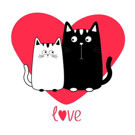 whisker: Cute cartoon black white cat boy and girl family. Big red heart. Kitty couple on date. Moustache whisker. Funny character set. Love greeting card. Flat design. Isolated. Vector illustration Illustration