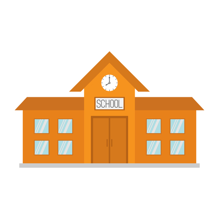 School building with clock and windows. City construction. Cartoon education clipart collection. Back to school. Flat design. White background. Isolated. Vector illustration Illustration