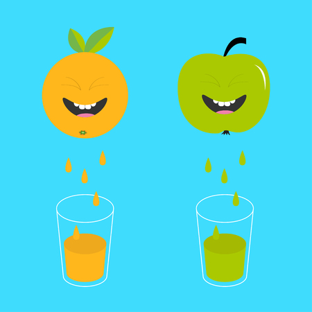 juicing: Fresh juice and glasses. Apple, orange fruit with faces. Smiling cute cartoon character set. Natural product. Juicing drops. Flat design. Blue background. Isolated. Vector illustration