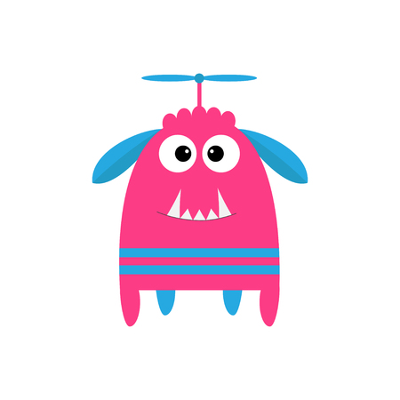 fang: Funny monster with fang tooth and horns. Cute cartoon character. Pink color. Baby collection. Isolated. Happy Halloween card. White background. Flat design. Vector illustration. Illustration
