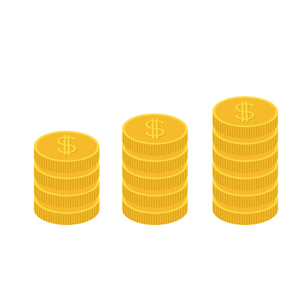 one us dollar coin: Gold coin stacks icon in shape of diagram. Dollar sign symbol. Cash money. Going up graph. Income and profits. Growing business concept. Flat design. White background. Isolated. Vector illustration