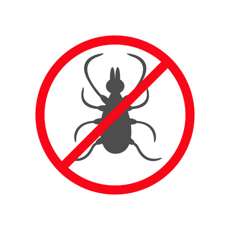 Prohibition no symbol Red round stop warning sign. Tick insect silhouette. Mite deer ticks icon. Dangerous black parasite. White background. Isolated. Flat design. Vector illustration Illustration