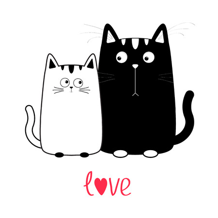 whisker: Cute cartoon black cat boy and white girl. Kitty couple on date. Big mustache whisker. Funny character set. Happy family. Love greeting card. Text with heart. Flat design. Isolated Vector illustration