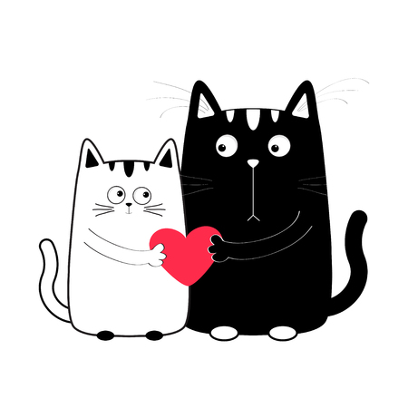 whisker: Cute cartoon black white cat boy and girl holding red heart. Kitty couple on date. Big mustache whisker. Funny character set. Happy family. Love greeting card Flat design Isolated. Vector illustration Illustration