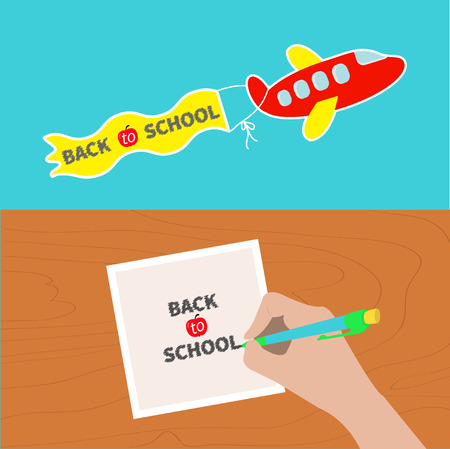 Back to school banner set. Hand writing drawing pen. Girl holding pencil. Paper sheet. Wooden desk table. Body part. Template empty. Flying cartoon plane. Flat design. Blue background Vector Illustration