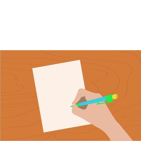 hand pen: Hand writing drawing pen. Woman holding pencil. Paper sheet. Wooden desk table. Writer, student, artist. Body part. Template empty. Flat design Isolated White background. Vector illustration Illustration
