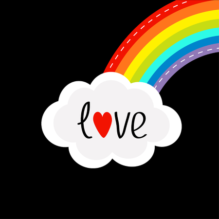 dash: Rainbow on the corner and cloud in the sky. Dash line. Love card. LGBT sign symbol. Flat design. Black background. Vector illustration.