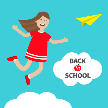 Girl jumping Happy child jump. Cute cartoon laughing character in red dress. Back to school Chalk text in cloud. Origami paper plane. White background. Isolated. Flat design. Vector illustration Illustration