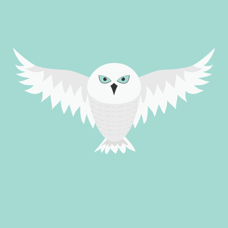 Snowy white owl. Flying bird with big wings. Blue eyes. Arctic Polar animal collection. Baby education. Flat design. Isolated. Sky background. Vector illustration