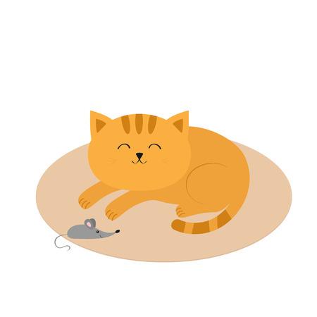 Nette schlafen orange Katze auf Teppich Teppich Matte liegen. Schnurrbart-Whisker. Kleine Maus. Tierfreunde. Lustige Zeichentrickfigur Paar. Weißer Hintergrund. Isoliert. Flaches Design. Vektor-Illustration