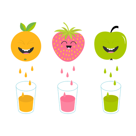 juicing: Fresh juice and glasses. Apple, strawberry, orange fruit with faces. Smiling cute cartoon character set. Natural product. Juicing drops. Flat design. White background. Isolated. Vector illustration