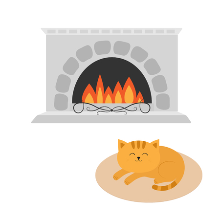 Cute cat lying sleeping on oval carpet rug mat. Funny cartoon character. Fireplace. Burning fire. Flat design. White background Isolated. Vector illustration