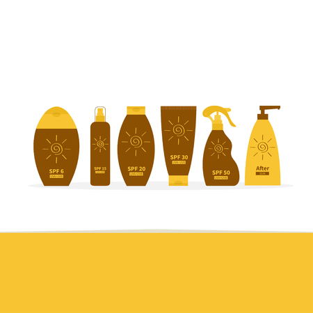 sun lotion: Tube of suntan oil cream. After sun lotion. Bottle set. Solar defence. Spiral sign symbol icon. SPF different sun protection factor. UVA UVB sunscreen. White background. Flat Vector Illustration