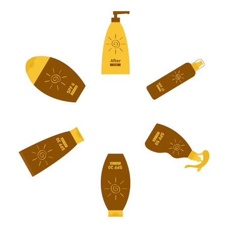dispenser: Tube of suntan oil cream. After sun lotion. Bottle set. Solar defence. Spiral sign symbol icon. SPF different sun protection factor. UVA UVB sunscreen. Round frame. Isolated Flat Vector
